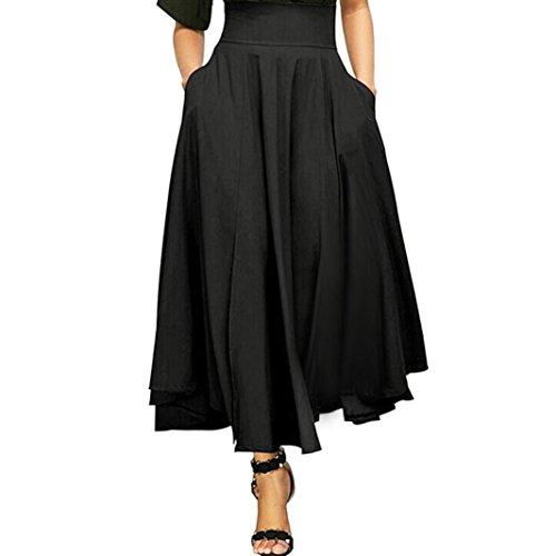 Kleider Damen Sommer Elegant Knielang Hohe Taille plissiert eine Linie Langen Rock vorne Schlitz Gürtel Maxi Rock Festlich Hochzeit Abendkleider Strand (Schwarz, L)