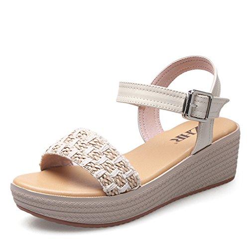 Bao Xing Bei Firm Weibliche Sandalen/Sommer Steigungssandalen/Thick Plattform Schuhe/Weave Schuhe (Size : 38)
