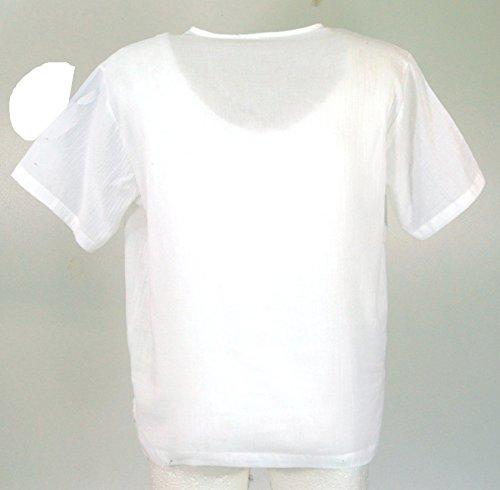 Yoga Hemd, Goa Hemd, Kurzarm, Männerhemd, Baumwollhemd / Männerhemden Weiß