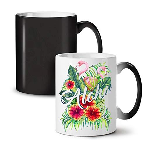 Wellcoda Hawaii Aloha Flamingo Schwarz Farbwechsel Tee Kaffee Keramisch Becher 11 oz