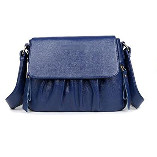 Donne Fahsion Pieghettato Borsa Crossbody PU Leather Borsa A Tracolla Portafogli Borsa Multicolore Blue