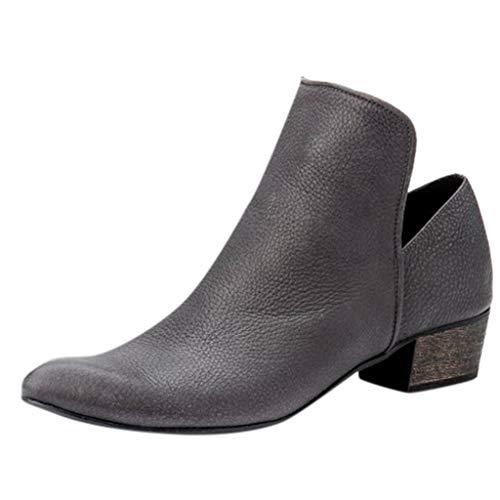QinMM High Heels Short Booties, Damen Single Stiefel Elegant Round Head Mit Stiefeln Square Heel Boots -