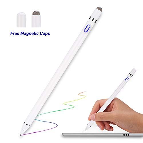 Stylus Pen für Apple iPad - MPIO Wiederaufladbar Touchstift mit 1,5 mm Extrem Feiner Spitze, Aktiver Stylus Stift für iPad Pro Air Mini/iPhone/Samsung/Lenovo Android Tablet mit Austauschbarer Kappe