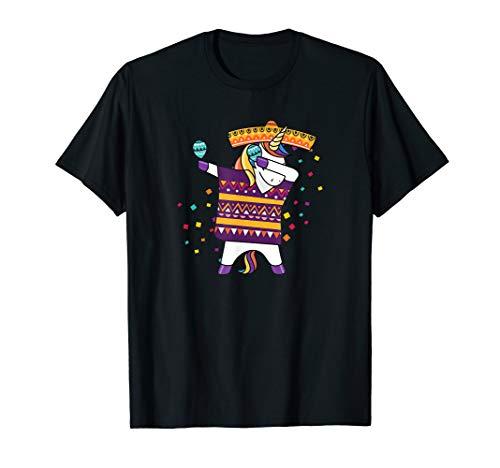 Abtupfen Unicorn In Poncho Sombrero-T-Shirt Cinco De Mayo (Mariachi Mädchen Kostüme)