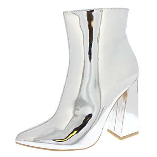 Damen Glänzend Block Ferse Mode Schick Elegant Frech Mittlere Ferse Stiefeletten - Silber Spiegel - UK5/EU38 - KL0247