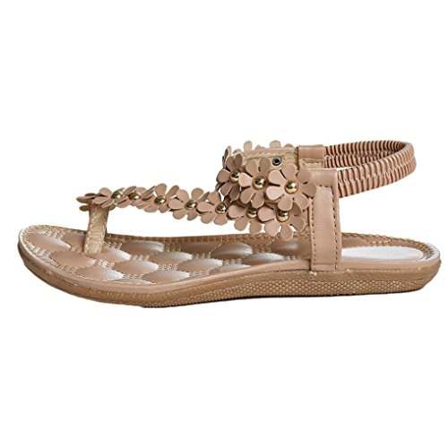 Fulltime® Bohemia douce perles clip Toe Sandals Chaussures de plage Chevrons Chaussures pour femmes Kaki