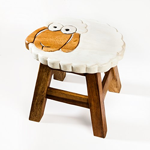 Robuster Kinderhocker/Kinderstuhl massiv aus Holz mit Tiermotiv Schaf, Schäfchen 25 cm Sitzhöhe