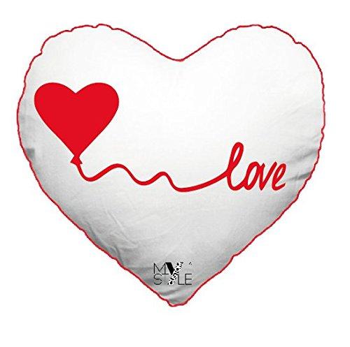 My custom style® confezione risparmio da 2 federe per cuscino a forma di cuore modello san valentino -love con cuore a palloncino- da 75x45cm, lato bianco stampato con tecnica sublimatica ad alta definizione e retro in cotone colore rosso. sfoderabile con imbottitura non inclusa.
