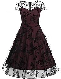 6cf7978e7a8b Vestito da Donna 🌸 Fami Womens Plus Size XL ~ 5XL Senza Maniche in Pizzo  Patchwork Farfalla Stampa Festa da Ballo Prom Swing…
