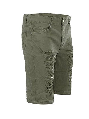 M429 BRUNO LEONI Herren Bermuda Jeans kurze Hose Cargo Shorts Clubwear Bermudas Khaki