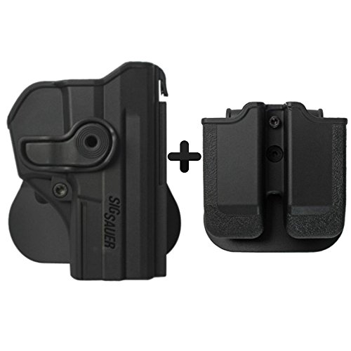 IMI Defense Tactical Combo Z1290 Best Roto Retention Paddle Holster + Double Magazine Pouch Black Polymer For Sig Sauer Pro SP2022/SP2009 Pistol Handgun -