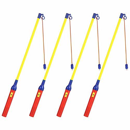 EasyAcc 4 x Eletkrischer Laternenstab mit LED ca.40cm für Kindergeburtstage, Parties, Laternenumzüge und mehr - 4er-Pack (Birnen Erwachsene Kostüme)