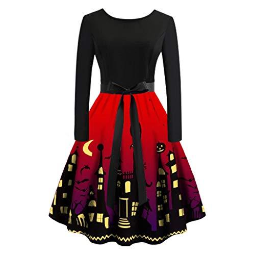 BHYDRY Frauen-beiläufiges Halloween-Tageslanges Hülsen-Druck-Kleid Plus (Plus Größe Body Shaper Kostüm)