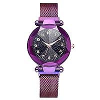 Women Quartz Watches,Fashion Starry Sky Convex Glass Quartz Mesh With Magnetic Buckle Ladies Watch