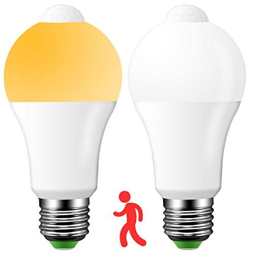 LED E27 Lampe mit Bewegungsmelder, Automatik ein/aus, 16W ersetzt 160W Halogen, Warmweiß (2700K), 1500 Lumen, PIR Sensor Birne für Treppen Haustür Garten Garage Kellerabgang, 2er Pack -