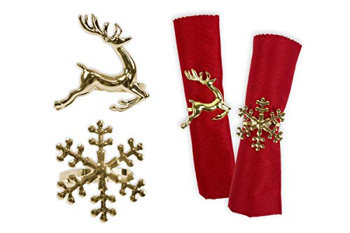 nge Set von 6 Gold Serviettenringe Schneeflocke Rentier Weihnachten Lunch Party Geschirr Weihnachtsschmuck Serviettenhalter ()