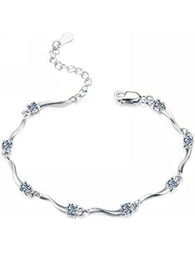 Merdia Damen Wunderbar S925 Sterling Silber Armband mit glänzenden Zirkonia 7.9