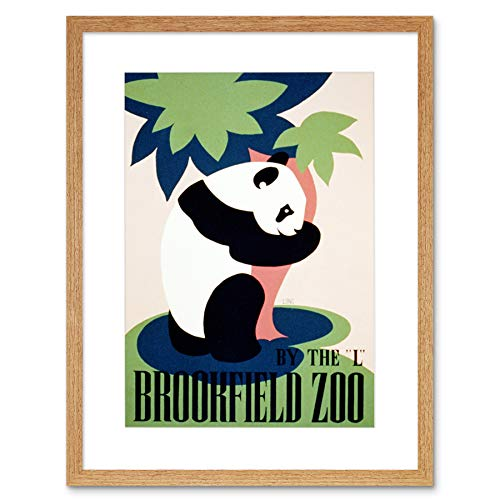 CULTURAL ADVERT BROOKFIELD ZOO PANDA USA VINTAGE FRAMED ART PRINT MOUNT B12X2786