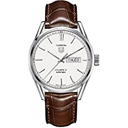 TAG Heuer Men's Brown Leather Band Steel Case Automatic Silver-Tone Dial Analog Watch WAR201B.FC6291