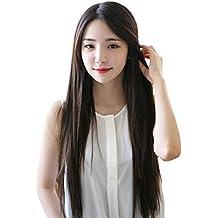 "26"" Peluca de pelo largo liso para mujer cosplay fiesta peluca recta sintética de moda (negro)"