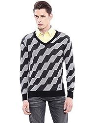 Arrow New York Mens Cotton Sweater (AKMY8364_Black_X-Large_FS)