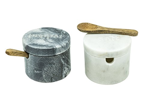 Pushpanjali Salz- und Pfefferdosen Marmor mit Löffel Fair Trade