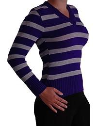 EyeCatchClothing - ALICIA Damen Pullover gestreift mit V-Kragen, Einheitsgröße
