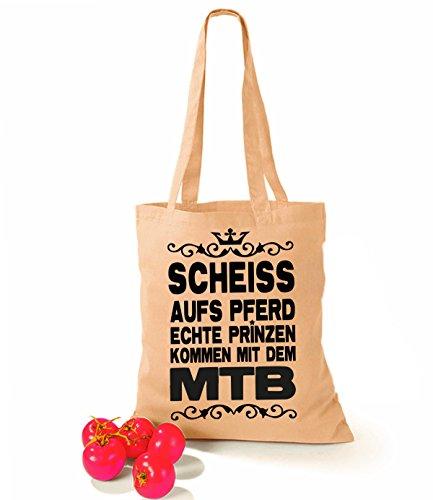 Artdiktat Baumwolltasche Scheiß auf´s Pferd - Echte Prinzen kommen mit dem MTB yellow sand