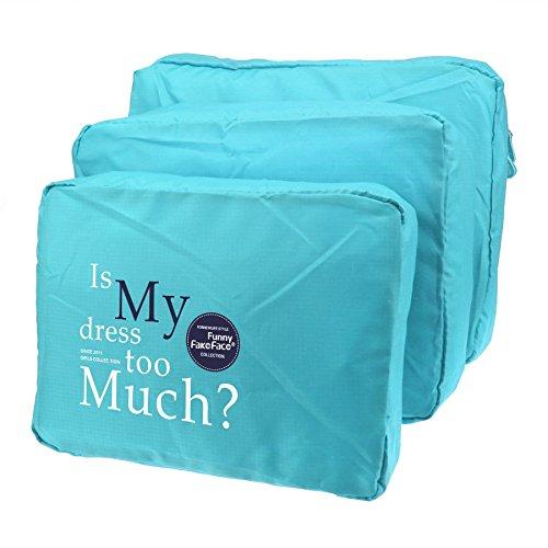 3-teiliges Packwürfel-Set Organizer Gepäcktaschen Kleidertasche Netz Reisegepäck Wäsche Beautycase Koffertaschen für Angenehme Reise