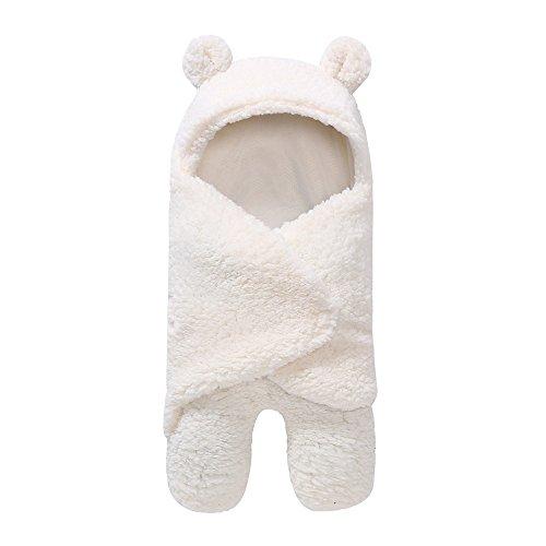 OVERDOSE Neugeborenes Schlafsack Decke, Neugeborenes Baby Jungen Mädchen Swaddle Baby Faux Kaschmir süßer Bär Schlafsack Decke Fotografie Prop (A-White, 55 * 29cm)
