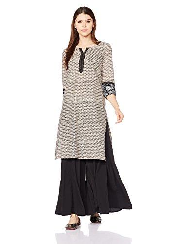Indigo Women's Straight Cotton Kurta (AW17KMN 3_Off white_L)
