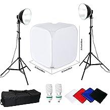 BPS 80x80x80cm 170W(2x 5500K)Caja de Luz con 2 x Trípode 0.8-2m Cubo de Luz Softbox Kit Tienda de Luz Estudio Fotografía - 2 x 85W 5500K Foco de Luz Continua + Cubo box + 4 x Fondos + Bolsa