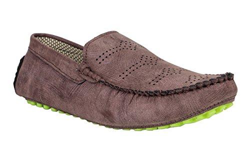 Digni Casual Mocassins Parti de vêtements pour hommes Faux Chaussures en cuir de conduite Slipper Marron foncé