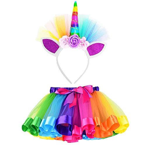 Vestito Unicorno Bambina BaZhaHei Costume da Ballo per Ragazza 2 Pezzi Costume da Ballo Arcobaleno Vestito Carnevale Bambina Tutu a Strati Gonna + Set di Accessori per Capelli