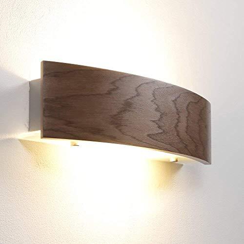 Wandleuchte Holz Nussbaum dunkel | Wandlampe LED 6W E27 | Holzleuchte modern Wand | Holzlampe 41cm | Leuchte inkl. LED-Leuchtmittel | Wohnraumleuchte mit furnierter Holzblende