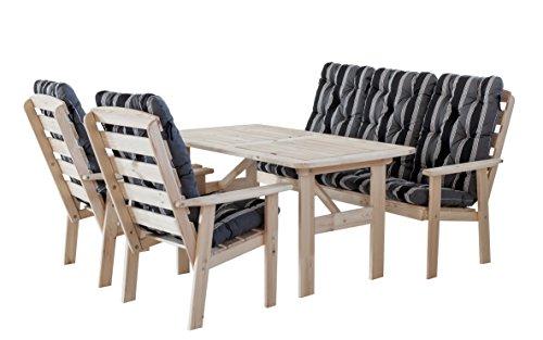 Ambientehome 90314 7-teilig Garten Sitzgruppe Essgruppe Loungegruppe Gartenmöbel Essgarnitur Hanko Maxi, natur mit Kissen, schwarz / grau