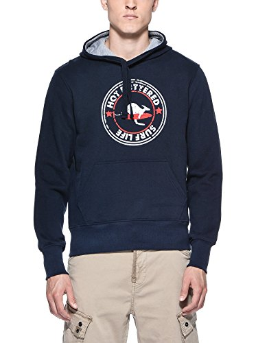 Hot Buttered - Felpa SURF LIFE con cappuccio, Uomo blu navy