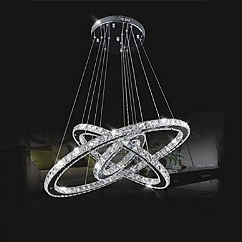 Led ZSQ lampadari di cristallo le luci di illuminazione in cristallo trasparente Round 3 anelli 30cm più 50cm più 70cm lampade infissi , bianco freddo-220-240V #1833
