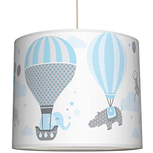 anna wand Hängelampe HOT AIR BALLOONS HELLBLAU/GRAU - Lampenschirm für Kinder/Baby Lampe mit Heißluftballons - Sanftes Kinderzimmer Licht Mädchen & Junge - ø 40 x 34 cm