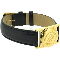 SOS Talisman Watch Style Gold Plated Capsule Black Nappa Polished Leather Strap - 18mm Wide