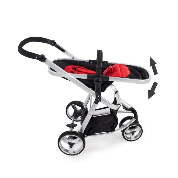 TecTake 3 in 1 Pushchair stroller combi stroller buggy baby jogger travel buggy kid's stroller -different colours- (Red/Black)  Aluminium frame | mosquito net Collapsible to a compact size for space-saving transport 5-point safety harness, Safety bar 4