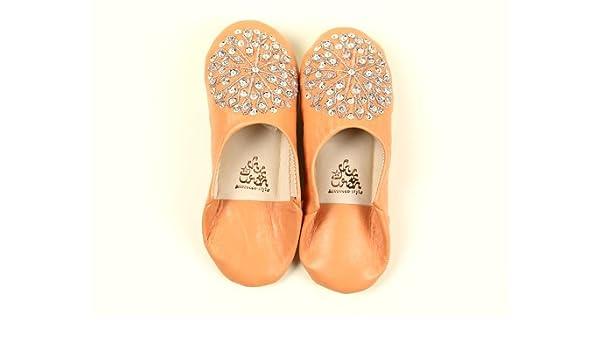 Marokko Pantoffeln Pailletten Baboosh Damen rosa Beige x M zu Silber ...