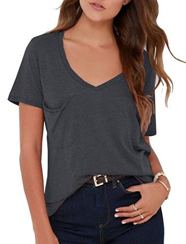 VIISHOW Womens Casual Curved Hem Langarm T-Shirt V-Ausschnitt Seitenschlitz Bluse Dunkelgrau M (Hem Jeans Hand)