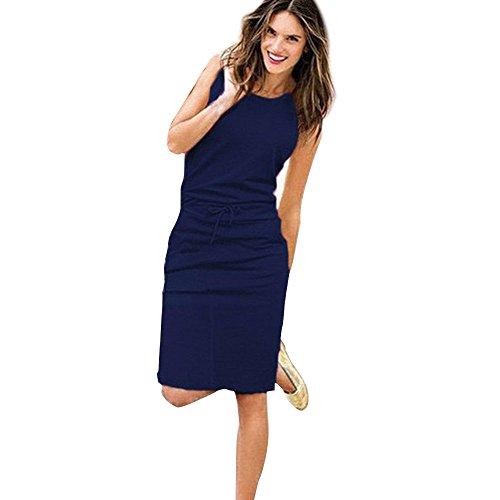 DAY.LIN Sommer Kleidung FüR Damen Damen Urlaub ärmelloses Sommerkleid Damen Sommer Strand lässig Partykleid (Marine, EU34 /S)