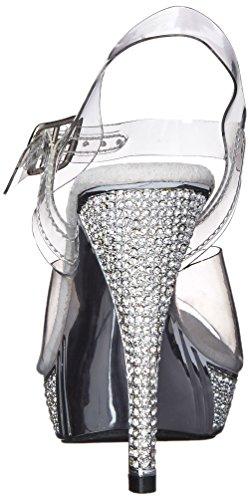 Pleaser Elegant 408, Sandales femme Transparent (Clr/Slv Chrome)