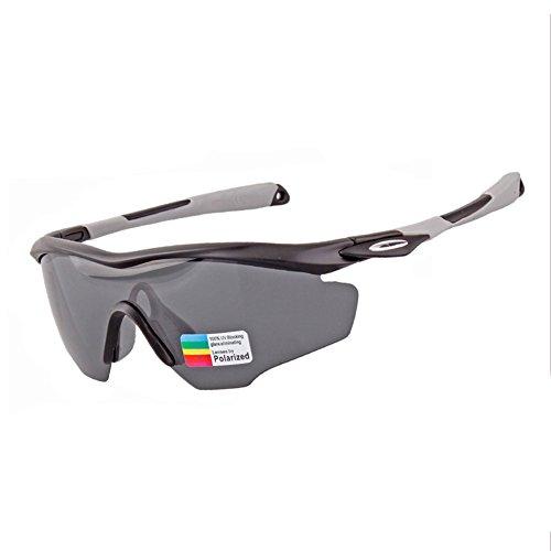 Yomeni polarisées Sports Lunettes de soleil, TR90Lunettes de soleil incassables pour homme et femme Moto, cyclisme, conduite, course à pied, Golf, Black&Red Frame