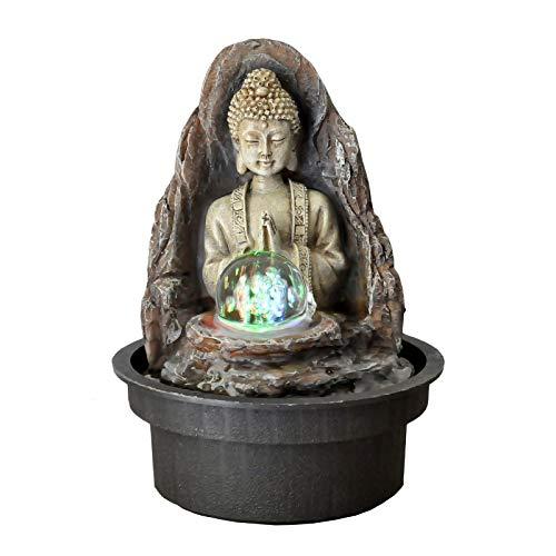 Zen\' Light Buda Peace Fuente, Resina, Bronce, 15x 15x 21cm