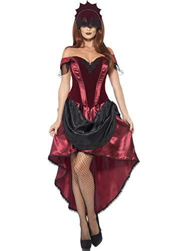 costumebakery - Damen Frauen Kostüm venezianische Verführerin Corsagen-Ballkleid im Burlesquen,Saloon Girl Stil mit Kopfschmuck, Venetian Temptress Costume, perfekt für Halloween Karneval und Fasching, L, Rot (Halloween-kostüme Saloon Girl)