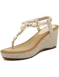 Easemax Damen Süß Strass Künstliche Perlen Clip Toe Zehentrenner Sandalen mit Keilabsatz Schwarz 36 EU