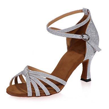 XIAMUO Nicht anpassbar - Die Frauen tanzen Schuhe funkelnden Glitter funkelnden Glitter Latein Sandalen entzündete Ferse Leistung/Praxis/IndoorBlack/ Braun